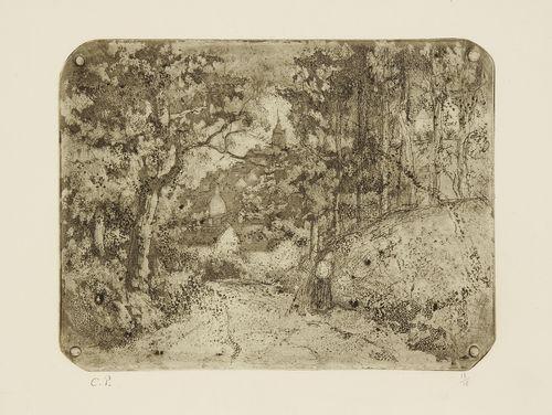 chemin sous bois à pontoise by camille pissarro