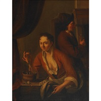 lady holding a herring while a visitor savors the toast by dominicus van tol