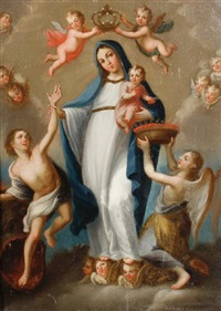 the madonna and child surrounded by angels by jose de alzibar