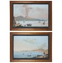 napoli dal carmine and eruzione ne il di 19. agosto 1834 (pair) by posillipo