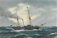 "the paddle steamer ""sirius"" in the atlantic by frank j. gardiner"
