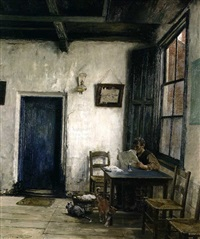lesender mann in einer bauernstube by hugo vogel