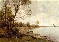 moored boats by a lake by gerard altmann