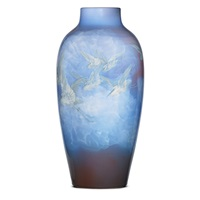 monumental special-order iris vase with egrets by edward timothy hurley