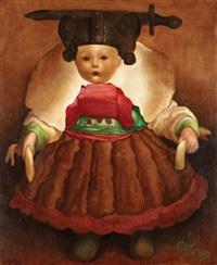 fillette au corset rouge et vert by mario gruber
