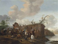 a train of wagons under attack, by a river by pieter wouwerman
