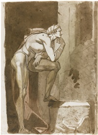 standing figure of a man in profile (+ study of a man, verso) by henry fuseli