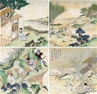 人物 册页 (十开选四) 纸本设色 (album of 10) by qian du