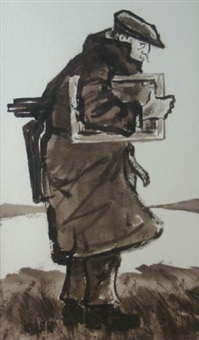 full portrait of sir kyffin williams in typical raincoat and cap holding artist's accessories in a landscape by karel lek
