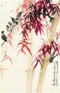 竹雀图 (bamboo and sparrow) by luo ming