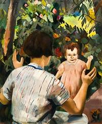 mutter mit kind im garten (+ spielzeug, 1935, verso) by otto herbig