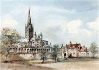 norwich cathedral, south view by arthur edward davies