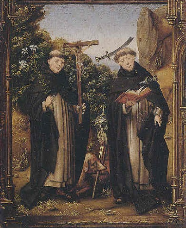 saints dominic and peter martyr in a landscape by portuguese school 16