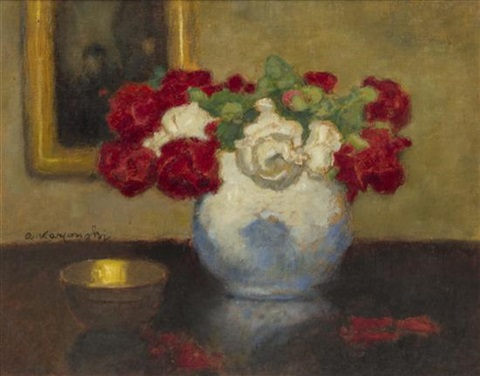 still life with red and white roses by alfons karpinski
