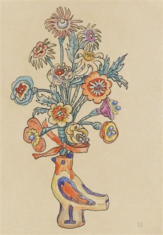 blumenblatt vogelvase by gabriele münter