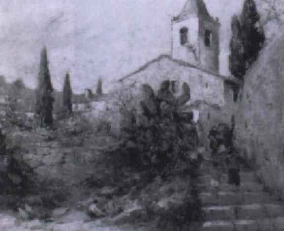 vista urbana con iglesia y figuras by joaquim asensio