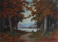 when red leaves are falling - loch katrine in early november by donald a. paton
