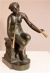 chloé. weibliche figur mit doppelflöte by heinrich wadere