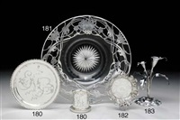 a silver overlay glass centerpiece bowl by la pierre co.