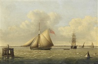 a trading cutter running out to sea past a mooring dolphin, with other shipping in the humber by john ward of hull