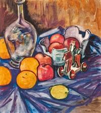 stillleben mit früchten, vase und spielzeug by hans kobinger