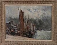 le retour des pêcheurs dans le port de trouville by maurice françois auguste courant