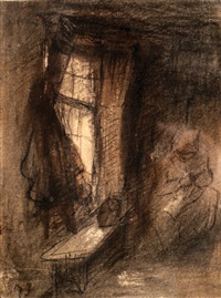 interior with seated woman by jozef israëls