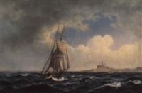 marine, sejlskibe på havet udfor kyst by jens thielsen locher