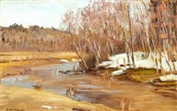 russian landscape at thaw with birch trees at a stream by manuil (emmanuil, manuk) aladzhalov