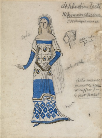 christian woman costume design for the first act of the musical play le martyre de saint sébastien by leon bakst