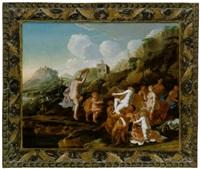 tanzende nymphen und satyrn in einer gebirgigen landschaft mit einem turm by claes nicolas jacobsz tol