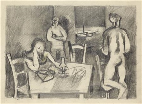 three figures round a table by keith vaughan