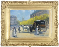 horse and carriage on a parisian street by g. leroux