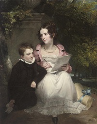 portrait of a brother and sister, she in a white dress and pearl necklace, he in a black suit, seated by a plinth by henry william pickersgill