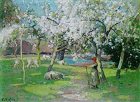shepherdess in the orchard by william macbride