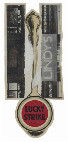 untitled (lucky strike, lindy's restaurant and big spoon) by ray johnson