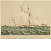 mayflower saluted by the fleet by currier & ives (publishers)