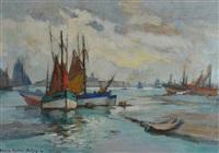 concarneau, thoniers à marée basse by lucien victor félix delpy