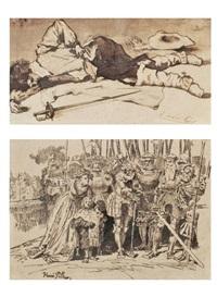 dead soldier; royal boy (2 works) by henri pille