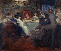cena de interior com festa - a ilha dos amores (?) by acacio lino de magalhaes