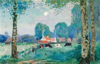 paysage d'été avec vaches by edmond verstraeten