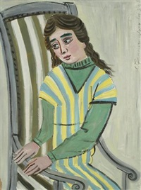 jeune fille assise by costas grammatopoulos
