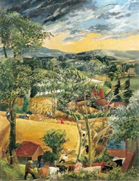 a capriccio of a harvesting scene, sussex by frank archer