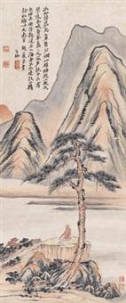松荫悟道图 立轴 设色纸本 (inscribed by lv jian) by li jian