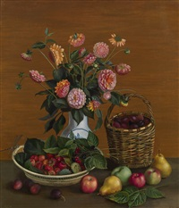 still life with asters and summer fruit by tatiana nazarenko