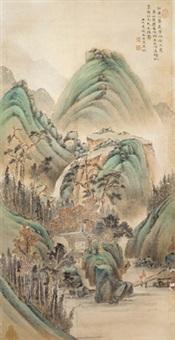 青绿山水 镜片 绢本 by wen qiqiu
