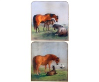 mares and foals in open landscapes (a pair) by edward robert smythe