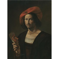portrait of a young man wearing a wide-brimmed red hat and holding a mask by pietro paolini