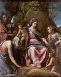 the madonna and child with saints jerome, paul, nicholas of bari, barbara and the infant saint john the baptist by alessandro tiarini