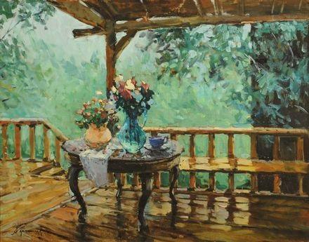 Terrazza con tavolo e vasi di fiori by Sergei Gerasimov on artnet